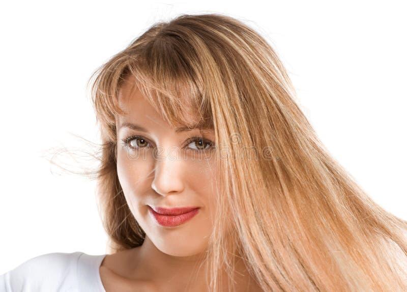 Arbeiten Sie Portrait des schönen blonden Mädchens um lizenzfreie stockbilder