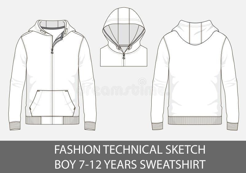 Arbeiten Sie technischer Skizze für Jungen 7-12 Jahre Sweatshirt mit Haube um lizenzfreie abbildung