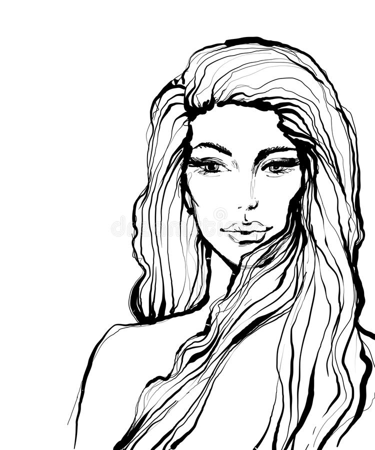 Arbeiten Sie Tintenart-Skizzenporträt des schönen Mädchens mit dem langen Haar um lizenzfreie abbildung