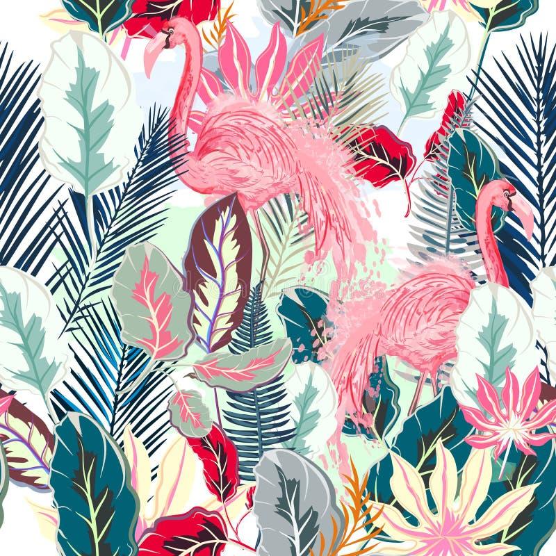 Arbeiten Sie tropischem Vektor künstlerisches Muster mit rosa Flamingo um und vektor abbildung