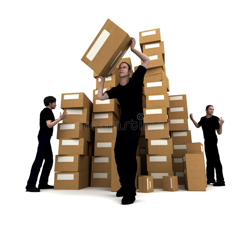 Download Arbeiter, Die Kästen Verschieben Stock Abbildung - Illustration von logistik, lager: 12200079