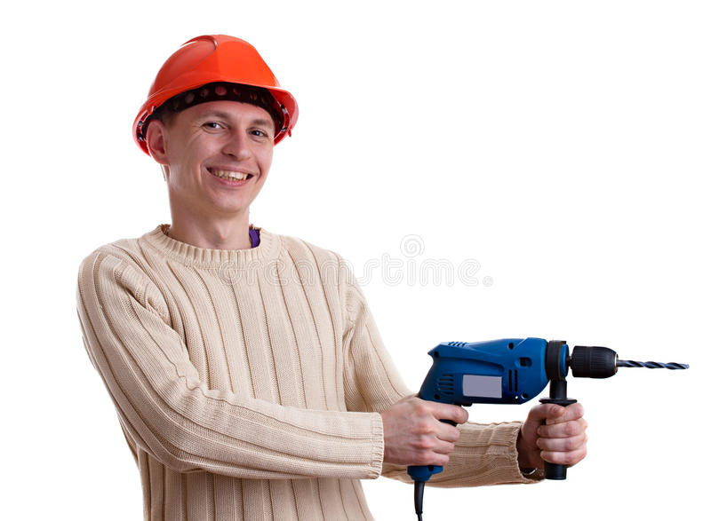 Arbeiter im roten Sturzhelm stockfoto