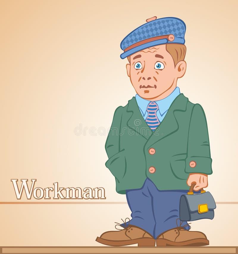 Arbeiter, Mann mit einem Aktenkoffer stock abbildung