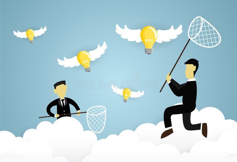 Arbeiter mit Fliegenlampenideen lizenzfreie abbildung