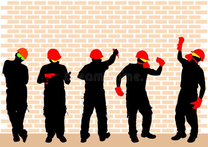 Arbeiter mit Sturzhelm lizenzfreie abbildung