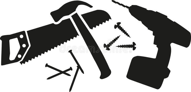 Arbeiterwerkzeug mit sah, hämmert, Nägel und Bohrgerät stock abbildung