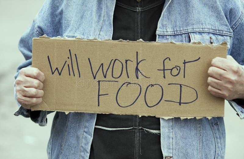 Arbeitet für Nahrung lizenzfreie stockbilder