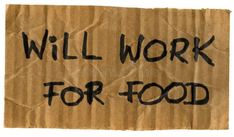 Arbeitet für Nahrungsmittelpappzeichen lizenzfreies stockfoto
