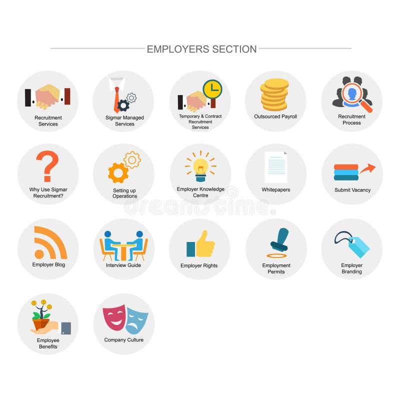 Arbeitgeberabschnitt-Ikonensatz lizenzfreie abbildung