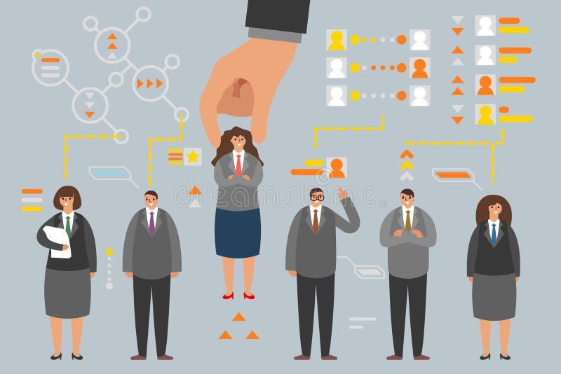Arbeitgebereinstellung des Job-Bewerbers der menschlichen Ressource auserlesene, die analytisches Anwendungskonzept des Mannfraue stock abbildung