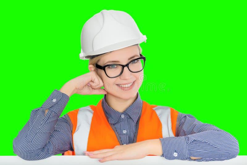 Arbeitnehmerinporträt stockbilder