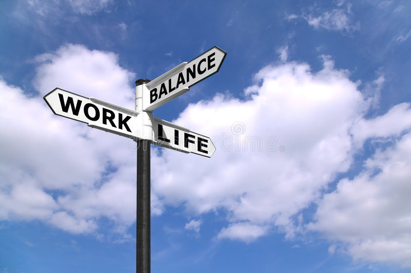 Arbeits-Leben-Schwerpunkt Signpost stockfotografie
