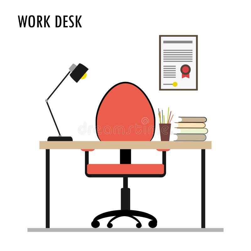 Arbeits-Schreibtisch, flache Entwurfs-Gegenstände stock abbildung