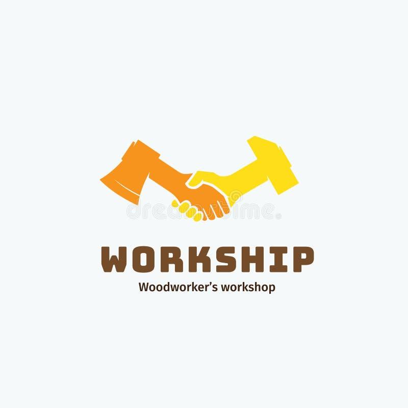 Arbeits-und Freundschafts-abstraktes Vektor-Symbol, Ikone, Emblem oder Logo Template Tischlers-Werkstatt-Firmenzeichen Händedruck stock abbildung