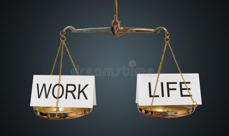 Arbeits- und Lebenschwerpunkt Wörter sind auf Skalen ausgeglichen stockbild