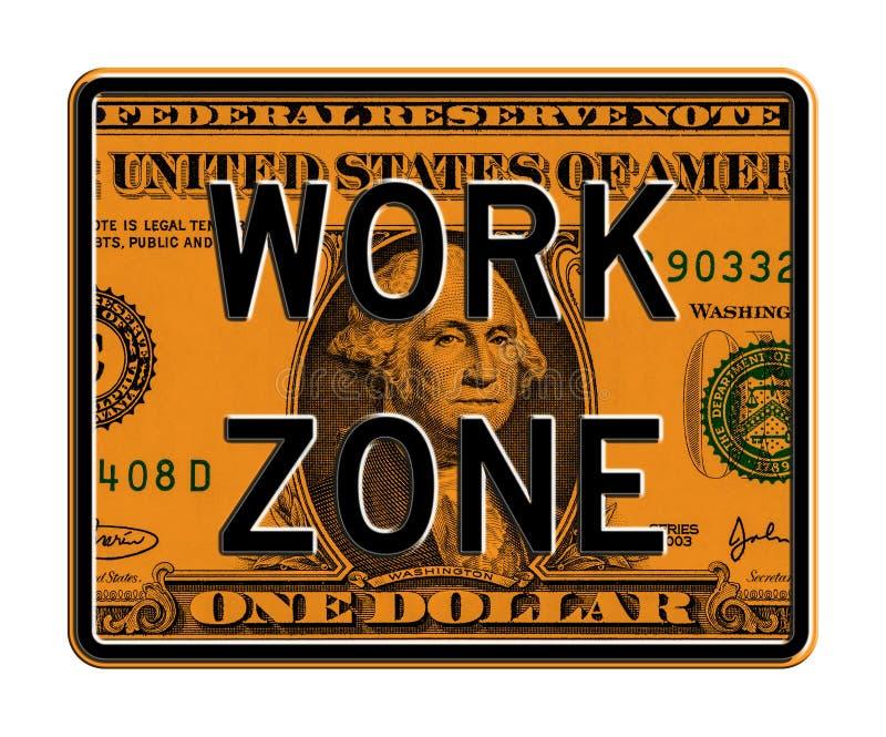 Arbeitsbereich-Zeichen auf Dollar-Banknote vektor abbildung