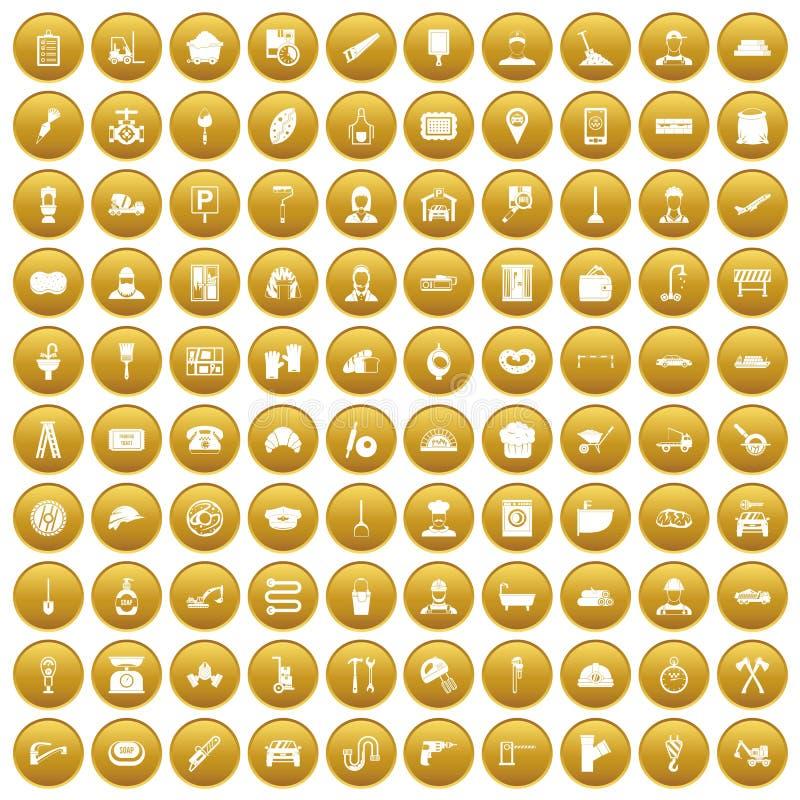 100 Arbeitsberufikonen stellten Gold ein stock abbildung