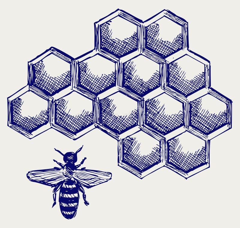 Arbeitsbiene auf honeycells stock abbildung