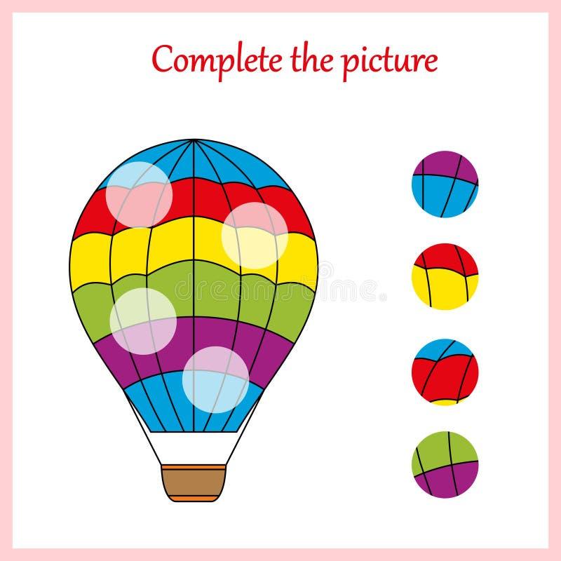 Arbeitsblatt für Kinder Schließen Sie das Bild, Spiel für Kinder ab stock abbildung