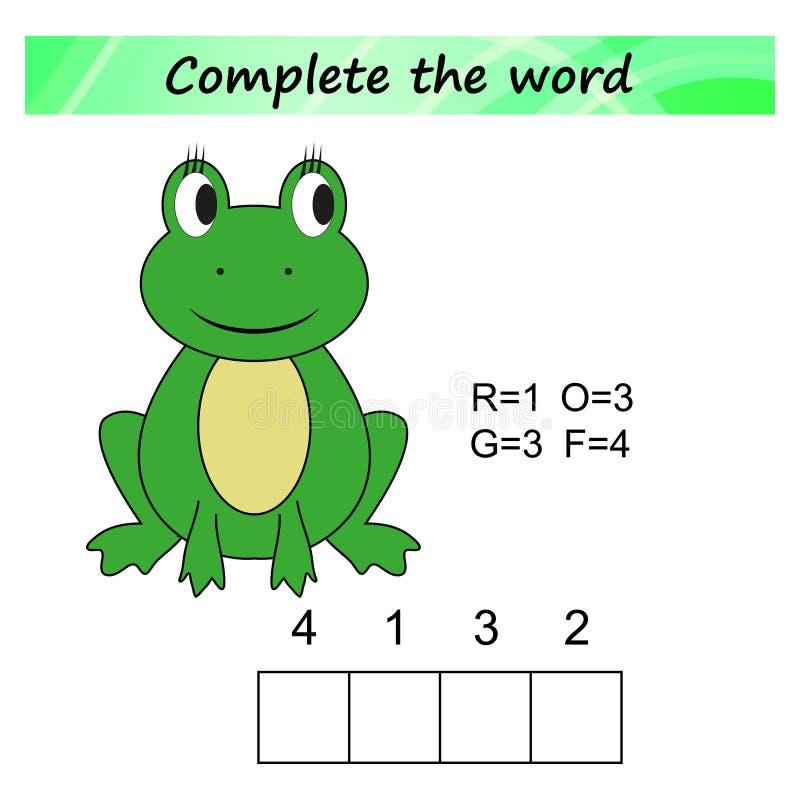 Arbeitsblatt für Kinder Wortpuzzlespiellernspiel für Kinder Legen Sie die Buchstaben in rechte Bestellung lizenzfreie abbildung