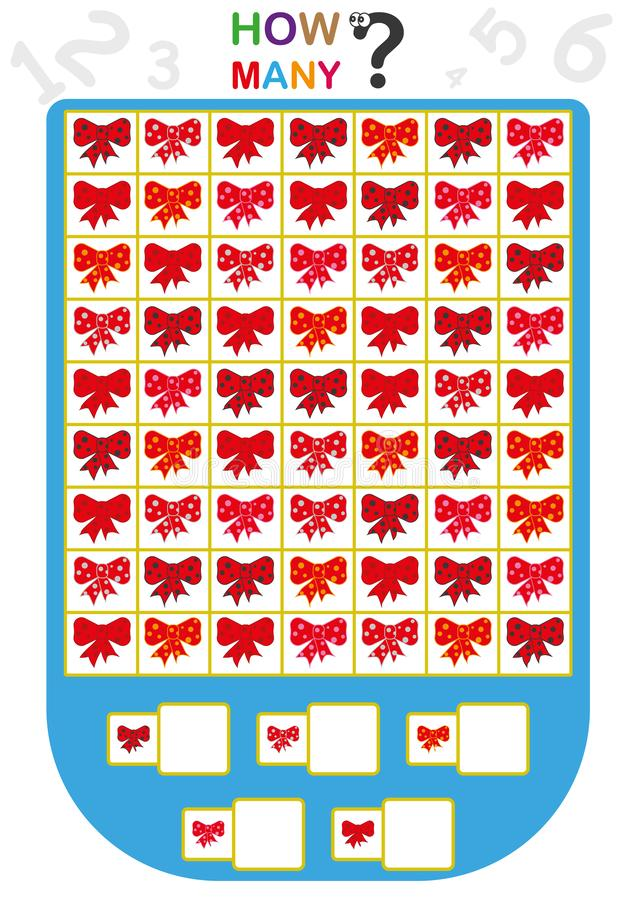 Arbeitsblatt für Kinder, zählen die Anzahl von Gegenständen, lernen die Zahlen, wieviele Gegenstände, pädagogisches Kinderspiel lizenzfreie abbildung