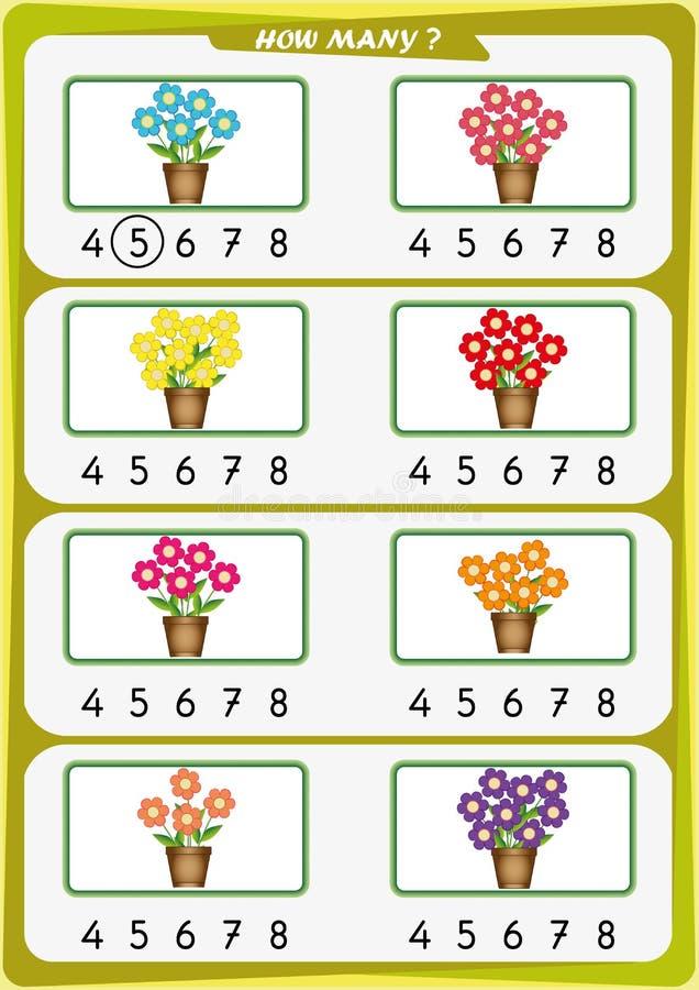 Arbeitsblatt für Kindergartenkinder, zählen die Anzahl von Gegenständen, lernen die Nr. 1, 2, 3, 4, 5, 6, 7 stock abbildung