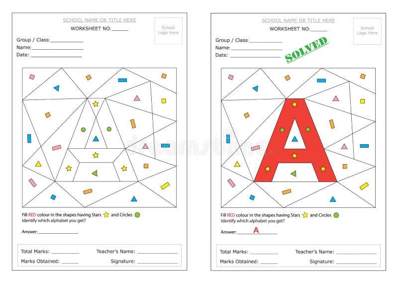 Arbeitsblatt - Identifizieren Sie Alphabet Vektor Abbildung ...