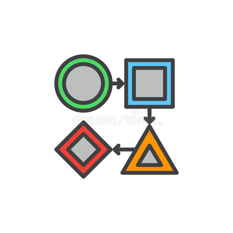 Arbeitsfluß gefüllte Entwurfsikone, Vektorzeichen vektor abbildung