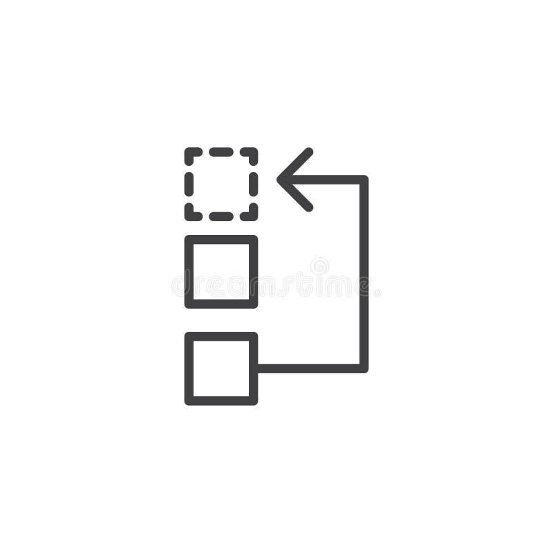 Arbeitsfluß oder Prozesslinie Ikone lizenzfreie abbildung