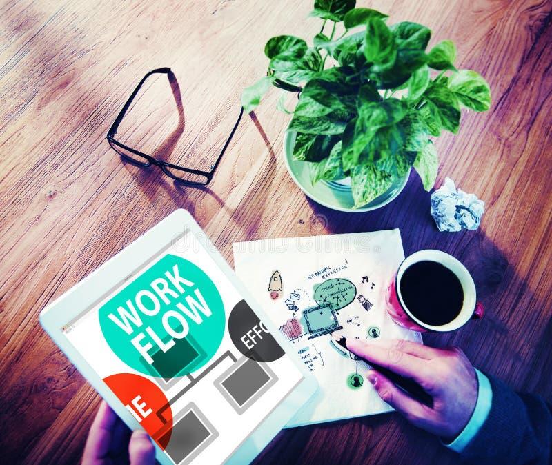 Arbeitsfluss-Bemühungs-Werkzeug-Leistungsfähigkeits-Geschäfts-Konzept stockfotografie