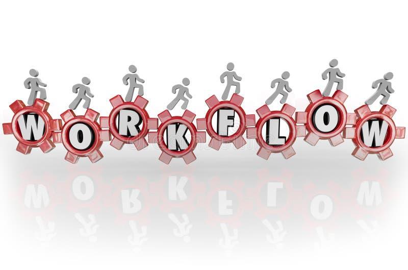 Arbeitsfluss-Leute auf den Gang-Teamwork-Arbeitskräften, die zusammenarbeiten lizenzfreie abbildung