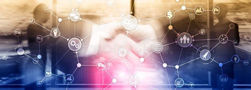 Arbeitsflussdiagrammautomatisierungs-Innovationskonzept der Geschäftsprozessstruktur industrielles auf gemischten Medien des virt lizenzfreie stockfotografie