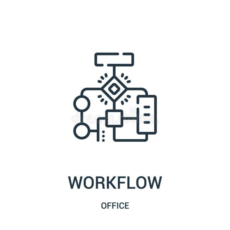 Arbeitsflussikonenvektor von der Bürosammlung D?nne Linie Arbeitsflussentwurfsikonen-Vektorillustration vektor abbildung