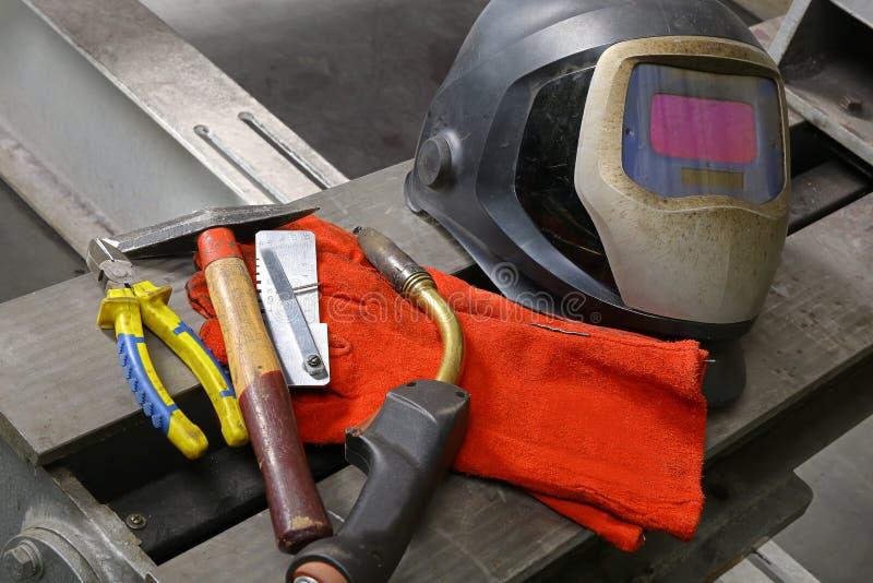 Arbeitsgeräte für das Schweißen lizenzfreie stockbilder