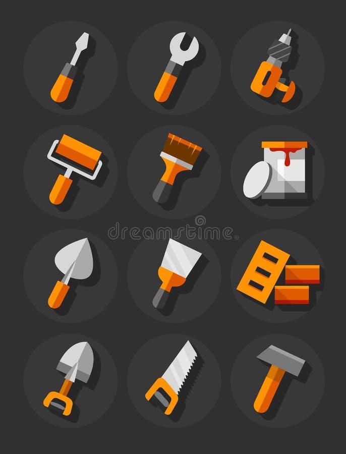 Arbeitsgeräte für die flachen Ikonen des Baus und der Reparatur eingestellt stock abbildung