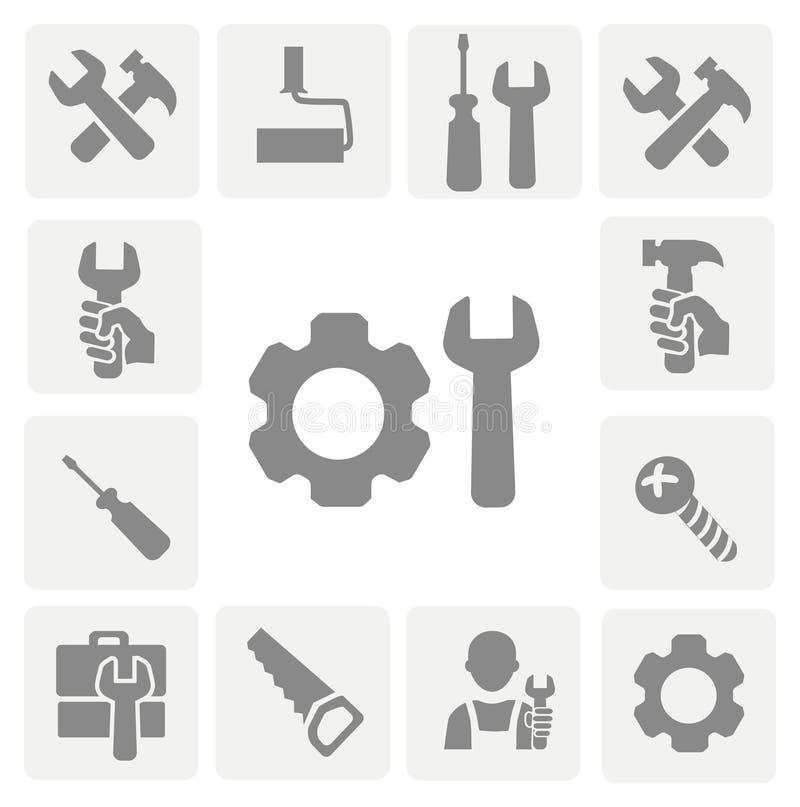 Arbeitsgeräte lokalisierte Ikonen eingestellt vom Hammer lizenzfreie abbildung