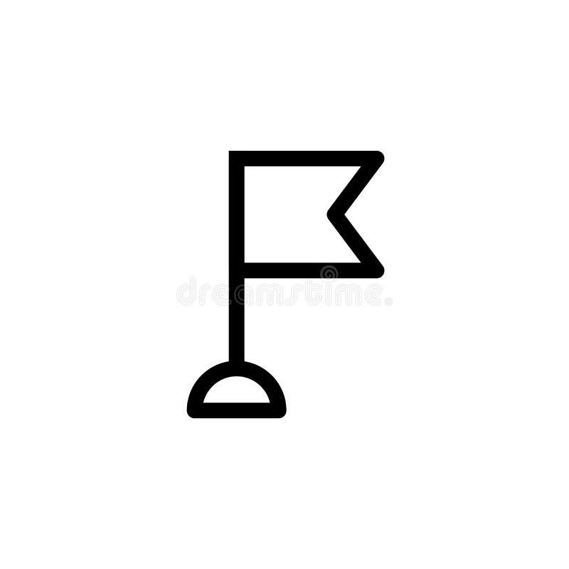 Arbeitskontrollpunktfortschritts-Ikonenentwurf einfache klare Linie Kunstberufsgeschäftsführungs-Konzeptvektor des Miniflaggeniko stock abbildung