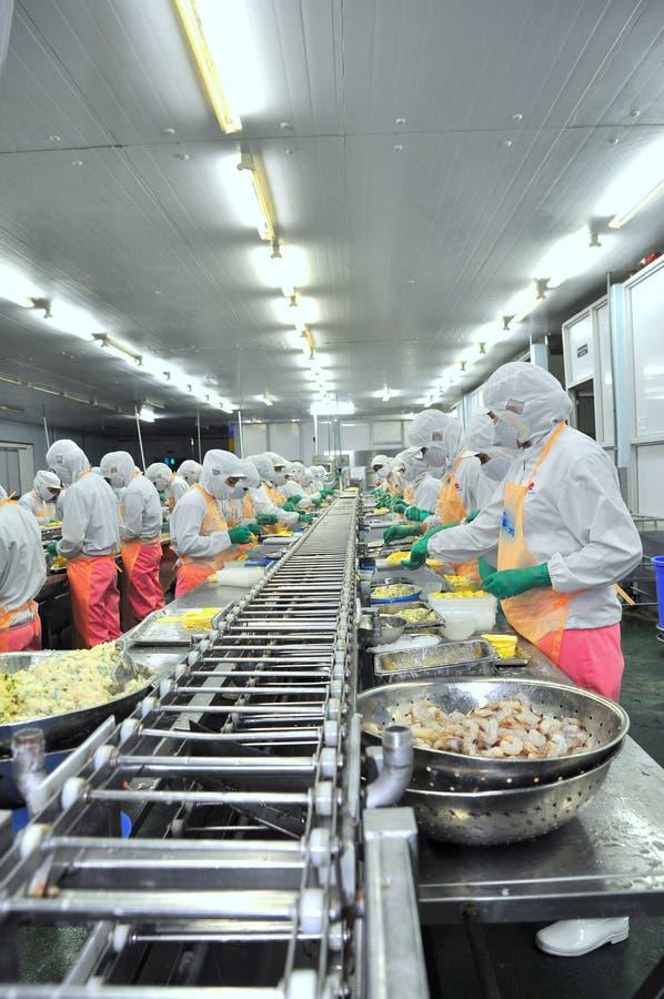 Arbeitskräfte arbeiten stark an einer Fertigungsstraße in einer Meeresfrüchtefabrik in Ho Chi Minh-Stadt, Vietnam stockbild
