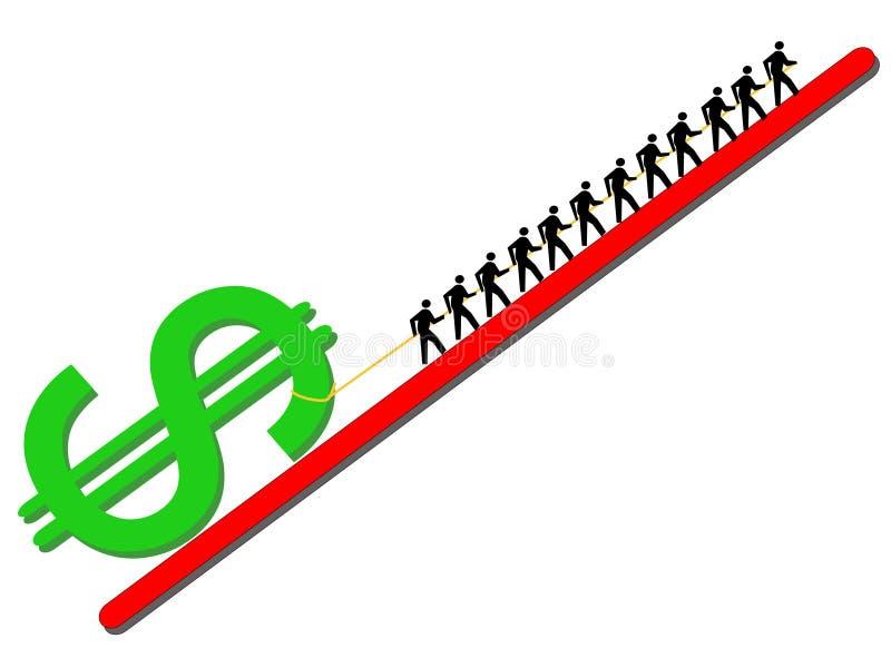 Arbeitskräfte, die Dollarzeichen ziehen vektor abbildung