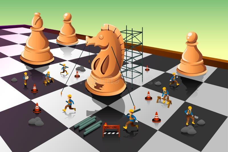 Arbeitskräfte, die einen Ritter Chess auf dem Schachbrett errichten stock abbildung