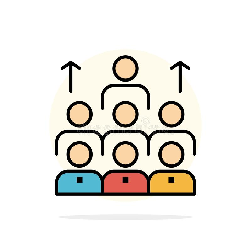 Arbeitskräfte, Geschäft, Mensch, Führung, Management, Organisation, Betriebsmittel, flache Ikone Farbe Teamwork-des abstrakten Kr stock abbildung