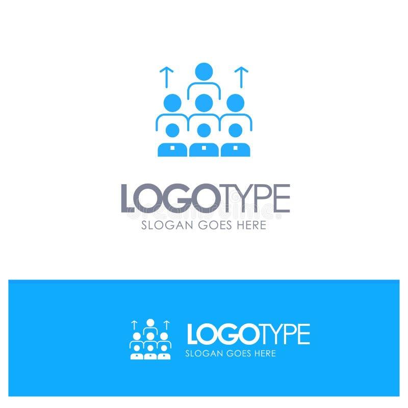 Arbeitskräfte, Geschäft, Mensch, Führung, Management, Organisation, Betriebsmittel, Teamwork-blaues festes Logo mit Platz für Tag lizenzfreie abbildung