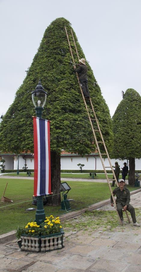Arbeitskräfte im königlichen Garten stockbilder