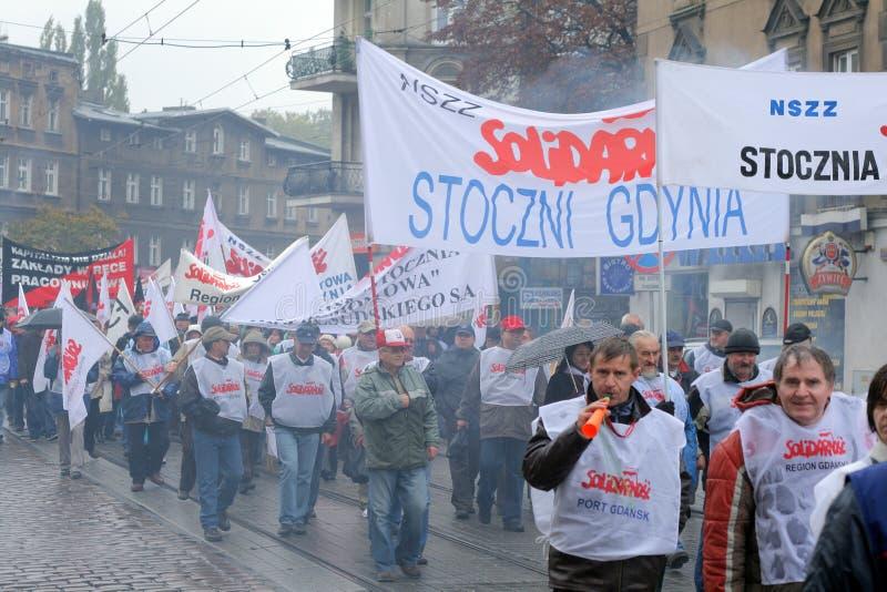 Arbeitskräfte schlagen in Polen lizenzfreies stockbild