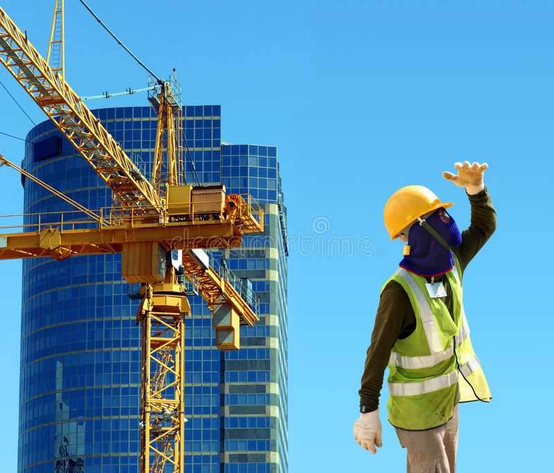 Arbeitskraft auf Baustelle stockfoto
