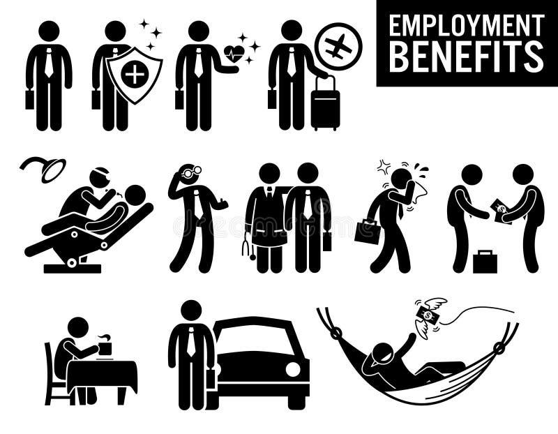 Arbeitskraft-Beschäftigung Job Benefits Clipart lizenzfreie abbildung