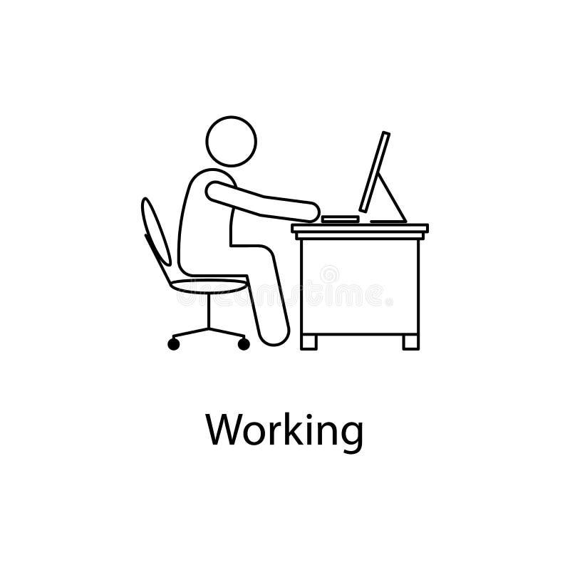 Arbeitskraft in der Arbeitsplatzikone Elementmann vor einem Computer an dem Arbeitsplatz für bewegliche Konzept- und Netz-APP Dün lizenzfreie abbildung