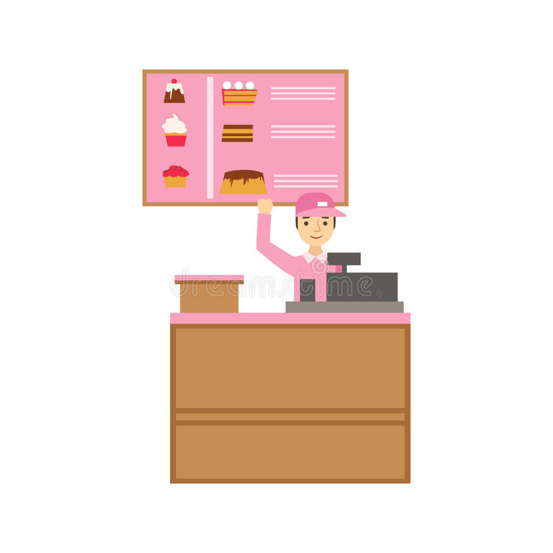 Arbeitskraft in der rosa Uniform mit Registrierkasse-und Kuchen-Zusammenstellungs-Menü, lächelnder Person Having ein Nachtisch im stock abbildung