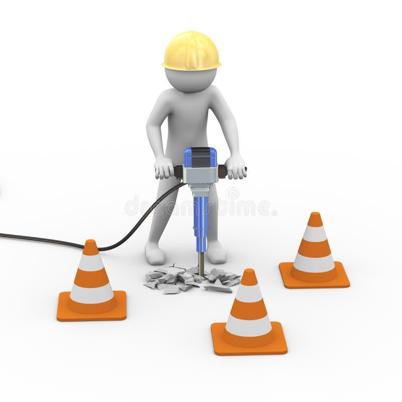Arbeitskraft der Straße 3d mit Sturzhelm und Jackhammer vektor abbildung