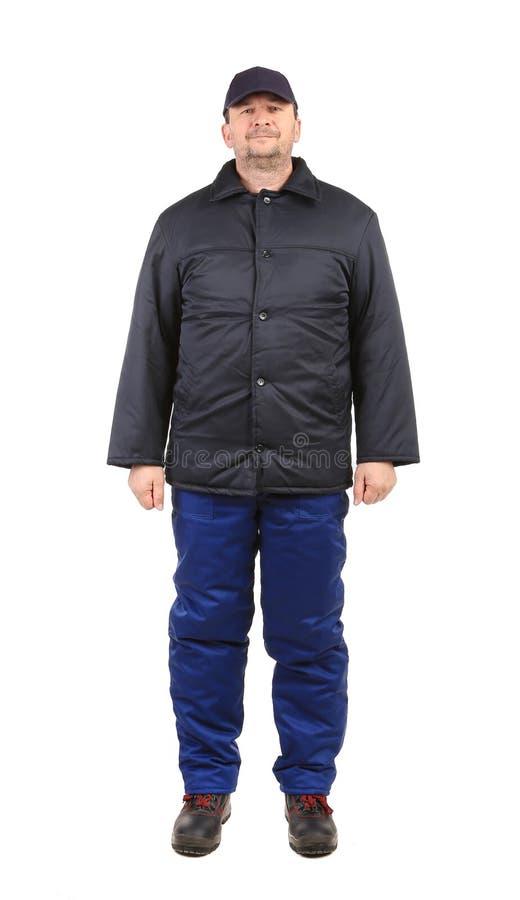 Arbeitskraft in der Winterarbeitskleidung. lizenzfreies stockfoto